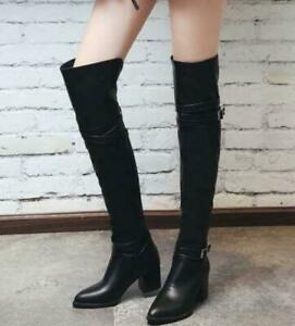 Retro Womens Buckle  Pointy Toe Knee High Ridding Boots Chunky Block Heel Shoes