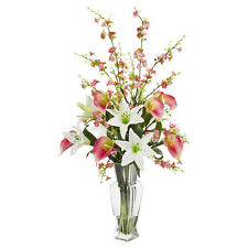 29',Calla Lily & Cherry Blossom Artificial Silk Arrangement in clear glass Vaze