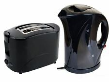 ELECTRIC CORDLESS JUG KETTLE AND 2 SLICE TOASTER KITCHEN SET GLOSS BLACK STYLISH