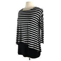 Tunic Top Black Stripe Joseph Ribkoff Women Small 6 fitted tank Shirt Overlay