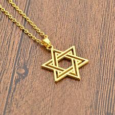 Jewish Star of David Charm Necklace Silver Gold Pendant Chain Statement Jewelery