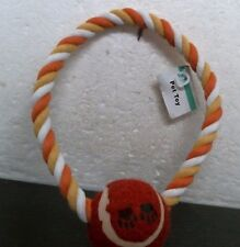 """Dog Toy w/ Ball with 7"""" Rope Ring Multi - Colored 712033"""