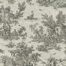 Textiles français Toile de Jouy Linen Fabric (La Grande Vie Rustique) Anthracite