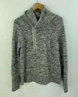 Athleta Medium Sweater Merino Wool Cowl Gray Pullover Drawstring A6-10