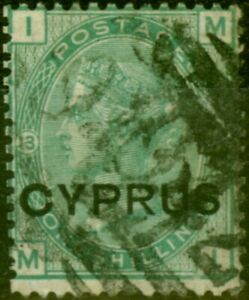 Cyprus 1880 1s Green SG6 Pl 13 Fine Used