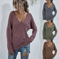 ❤️ Womens Long Sleeve Knitted Sweater Casual Loose V Neck Blouse Pullover Jumper