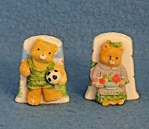 2 Birchcroft Teddy Bear China Thimbles