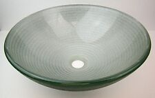 "NEW Round Foil underlay Bathroom Sink Tempered Glass Vessel Sink Bowl 16 1/2"""