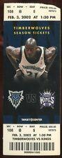 Ticket Basketball Minnesota 2001 - 02 2/3 Sacramento Kings Kevin Garnett