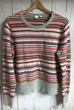 NWOT GAP Womens Fair Isle Sweater Knit Merino Crewneck Multi Stripe Large