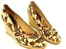 Tommy Hilfiger Beige Brown Floral  Espadrille High Heel Wedge Shoes holiday 41