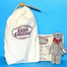 Cottage Collectibles Miniatures by Ganz Greg Grey Bear Red Bow in Pouch + Coa