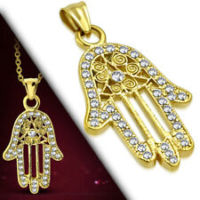 Hamsa Filigree CZ Luck Pendant Necklace Stainless Steel Gold-Tone Charm Hand