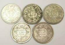5x India One Rupee silver coins 1918 2x 1942 and 2x 1944 5-silver coins