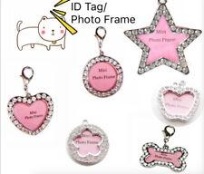 Bling Rhinestone Mini Photo Frame Anti Loss Id Tag Pets Dog/Cat Tag and Charm