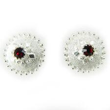 Orecchini sardi con bottone sardo a perno argento 925 e pietra rossa centrale