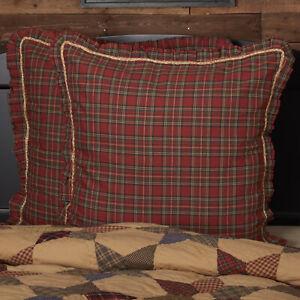 VHC Brands Primitive Euro Sham Red Rope Tea Star Cotton Plaid Bedroom Decor