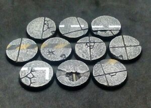 25mm resin bases x10 Concrete urban industrial Warhammer 40,000 40k (unpainted)