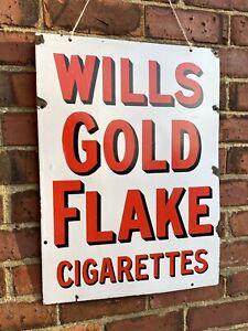 Antique Vintage c1930s Original Wills Goldflake Cig Enamel Advertising Shop Sign