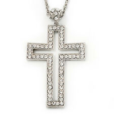 Oversized Open Diamante Cross Pendant Necklace In Rhodium Plated Metal - 64cm Le