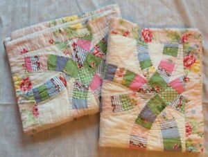 2 Quilted Pillow Case Sham Pieced Double Wedding Ring Cottage Shabby Floral