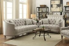 CONTEMPORARY CURVY GREY TUFTED LINEN LIKE TUFTED SOFA LIVING ROOM FURNITURE