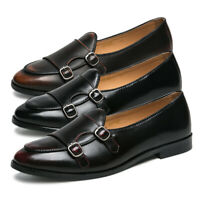 Men's Double Monk Strap Shoes Retro Slip On Loafers Formal Business Dress Shoes