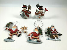 2 Tin Snowmen Tealight Holders & 3 Father Christmas Hanging Ornaments Decoration