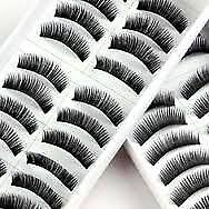 1028G -20 pares negro largo hecho a mano ojo de pestañas falsas voluminosas