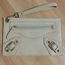 BCBG Genuine Leather Nude Tan Clutch Wristlet NWOT Mint Conditon Gold Accents