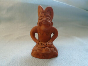Vintage African Earthenware Sculpture Figure Playing Tom Toms