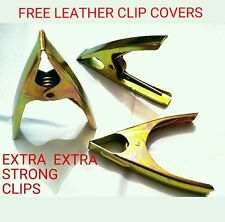 "EXTRA STRONG MARKET STALL CLIPS 6"" + 6 LEATHER CLIP (CLAMP) COVER 6x PIECE"