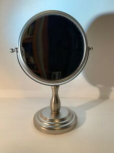 """Satin Nickel Standing Double Sided Mirror 11"""""""