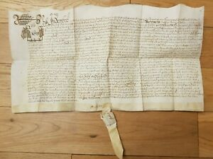 1673 Charles II Indenture Document with covered seal Matthias Barry