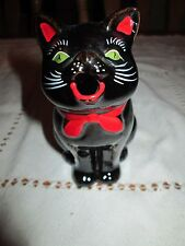 Vintage Stafford Brown Black Cat Kitty red bow green eyes Creamer
