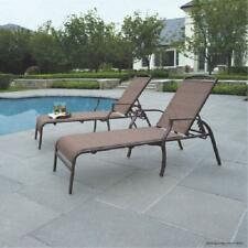 Outdoor Patio Chaise Lounges Chairs Deck Backyard Poolside Area Tan Set of 2