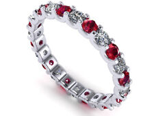 Natural 1.95ct Ruby Diamond U-Prong Eternity Band Ring 18k White Gold AAAA F VS2