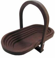 Folding Collapsible Hard Wood Basket Fruit Bowl Hand Made 35 x 19.5 cm