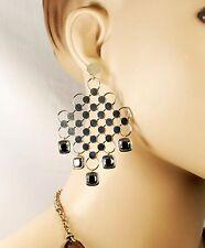 $995 John Hardy LARGE 75x48mm 32g Diagonal Square Hematite Earrings Women Gift