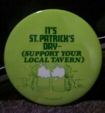 "Rare Vintage Pin Large 4"" St. Patrick's Day Beer Mugs Support Local Tavern Irish"