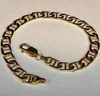 "14k Solid Yellow Gold Handmade Fashion Mariner Link Bracelet 7""  7 MM 11 grams"