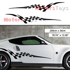 2pcs JDM Racing Checkered Flag The Side Door Decorate Vinyl Car Sticker Decal