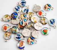Wholesale 50Pcs Catholic Religious Crosses Enamel Medals Pendant Crucifixes 13mm