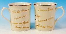 (2) Lenox 'Holiday Sentiments' Mugs Fine Porcelain 2004 Japan