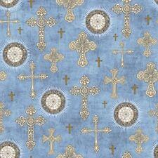QT Heavenly by Dan Morris 24573 B Lt Chambray Crosses BTY Cotton Fabric