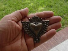 Antiqued Silver Milagro Heart With Cross And Wings Milagro Charms Exvoto Nicho