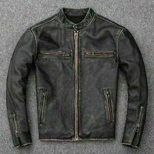 Herren Motorrad Biker Vintage Distressed Schwarz Verblichen Real Leather Jacke