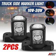 2 Pcs Clear Lens 4 Led Side Rubber Marker Lights Lamps For Trailer Truck 12v 24v