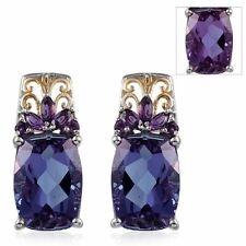 LAVENDER ALEXITE, AMETHYST EARRINGS 12.35 TCW IN 14K GOLD & PLATINUM OVER STERLI