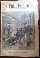 """b)Le petit parisien 26/03/1893; Autour d'un """"Brasero""""/ vue de Tamatave"""
